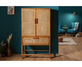 Orientálna dizajnová vysoká komoda Allerdale z masívu a bambusu