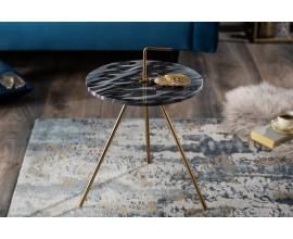 Jedinečný príručný stolík Gedling Grey Marble s povrchovou doskou zo sivého mramoru