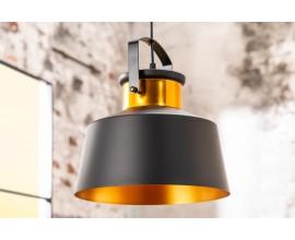 Dizajnová závesná lampa LUZ I v industriálnom štýle v čierno-zlatom prevedení