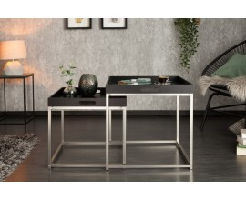 Dizajnový set dvoch príručných stolíkov Nobile v čiernom prevedení
