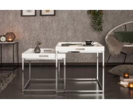Dizajnový set dvoch príručných stolíkov Nobile v bielom prevedení