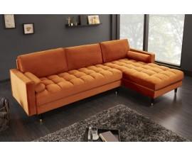 Moderná art-deco rohová sedačka Velluto Mandarin zo zamatu 260cm