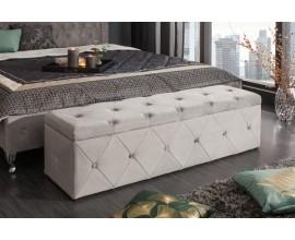 Dizajnová zamatová lavica s úložným priestorom Caledonia 140cm strieborno sivá