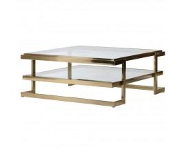 Art-deco konferenčný stolík Lush v zlatom prevedení 100 cm
