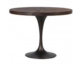 Industriálny kruhový jedálenský stôl Buffalo s kovovou podstavou a doskou z ekokože 100cm