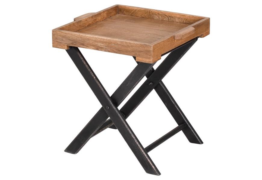 Hnedý industriálny príručný stolík Nyakim v industriálnom prevedení s čiernymi nožičkami