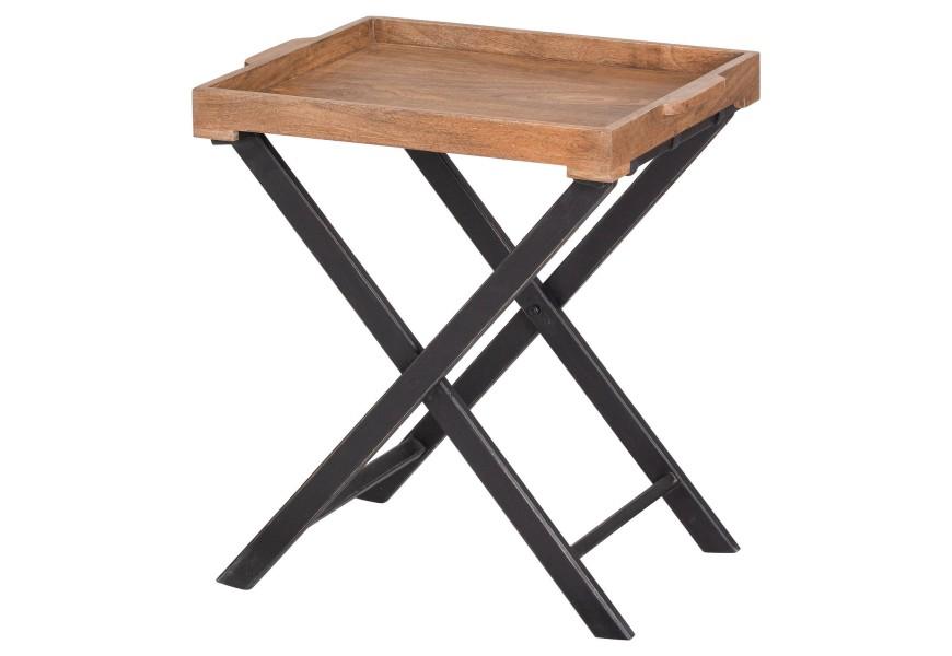 Hnedý industriálny príručný stolík Nyakim z mangového dreva