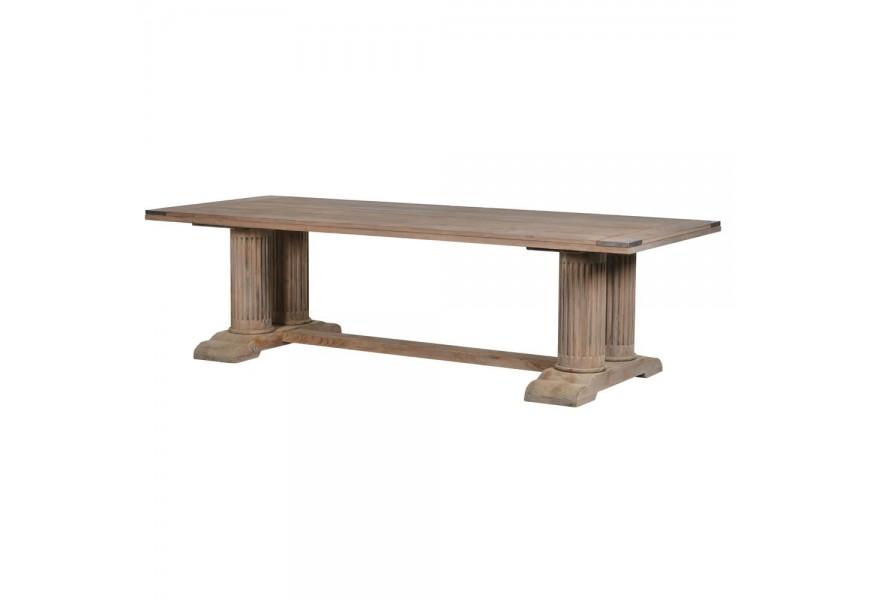Jedinečný hnedý jedálenský stôl Torilde v koloniálnom štýle z masívu