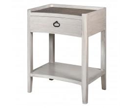 Provensálsky hranatý biely nočný stolík Celene I s ratanovým povrchom a úložným priestorom 55cm