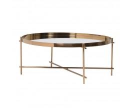 Jedinečný art-deco kruhový konferenčný stolík so zrkadlovým sklom a chrómovou konštrukciou v dizajnovej medenej farbe