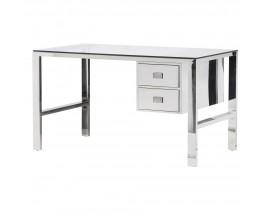 Lesklý chrómový pracovný stôl Ann 133cm