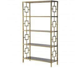 Luxusná chrómová knižnica Terrano Gold v zlatom prevedení 195cm