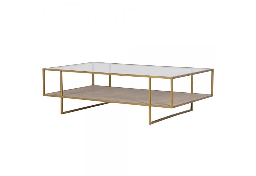 Obdĺžnikový zlatý art-deco konferenčný stolík Diveni s policou z béžovej mdf dosky