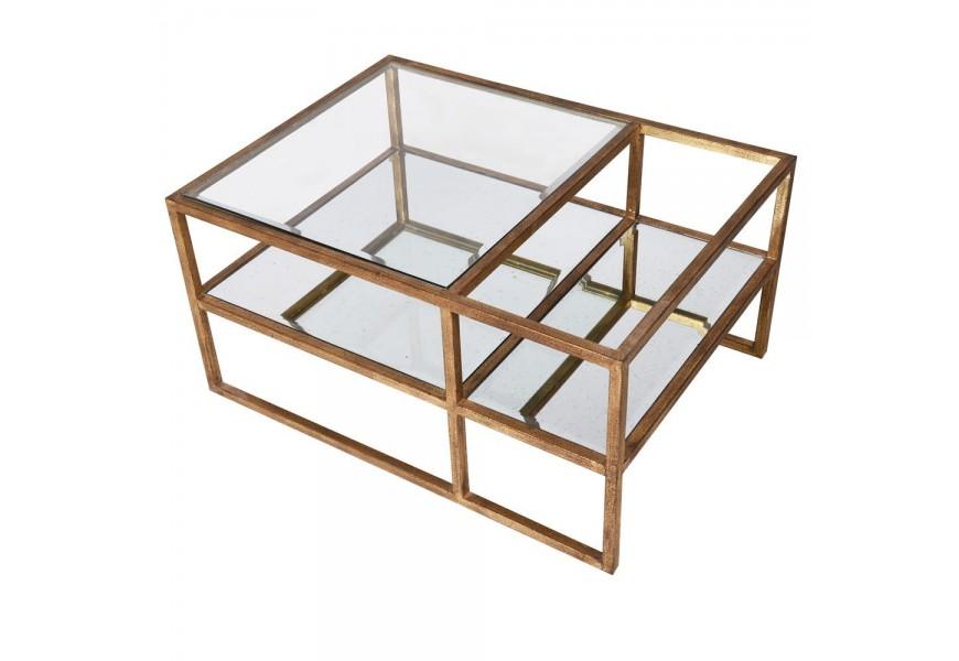 Zlatý obdĺžnikový konferenčný stolík Lacani v art-deco prevední s presklenou povrchovou doskou
