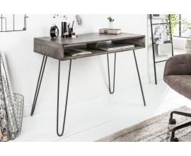 Industriálny písací stôl Leeds z mangového dreva šedý