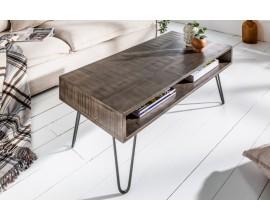 Industriálny konferenčný stolík Leeds z mangového dreva šedý
