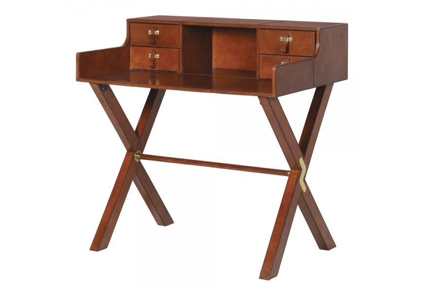 Hnedý kožený písací stôl Jaipur II v koloniálnom štýle so zásuvkami a prekríženými nohami