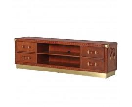 Luxusný kožený televízny stolík Pellia  so štyrmi zásuvkami 188cm