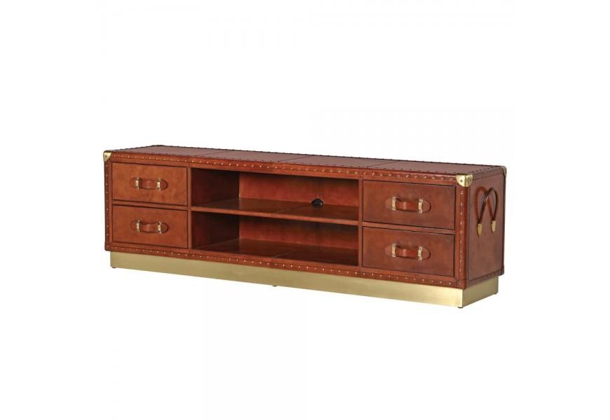 Hnedý kožený televízny stolík Pellia so zlatými detailami