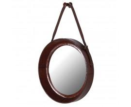 Koloniálne okrúhle závesné zrkadlo Pellia z kože 52cm