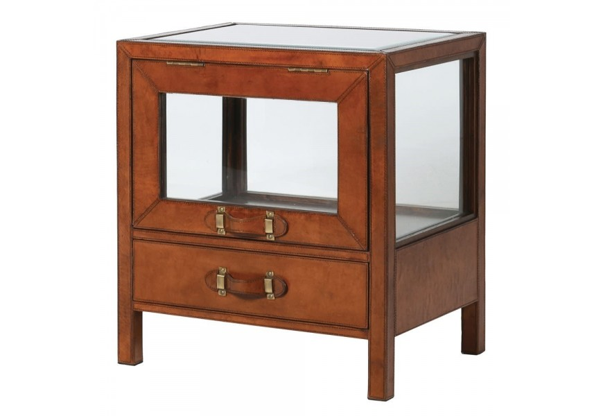 Hnedý kožený príručný stolík Pellia s preskleným povrchom