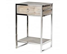 Dizajnový chrómový nočný stolík Denvero 75cm