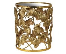 Dizajnový okrúhly príručný stolík zlatej farby so zrkadlovou  doskou a s kvetovaným dizajnom.
