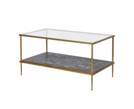 Art-deco zlatý konferenčný stolík Gold Leaf 100cm z kovu a skla