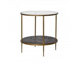 Dizajnový okrúhly príručný stolík Gold Leaf 60cm