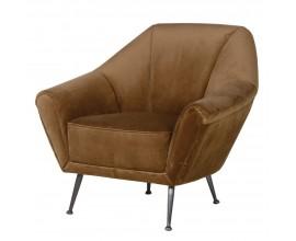 Moderné pohodlné kreslo Envy s hnedým zamatovým čalúnením a kovovými nohami