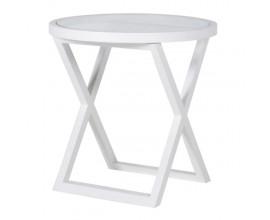 Luxusný okrúhly príručný stolík z masívu Wielton Blanc 61cm biely