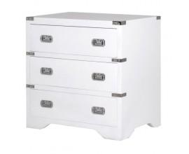 Dizajnový nočný stolík z masívu s troma zásuvkami Wielton Blanc 70cm biely