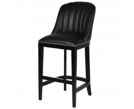 Luxusná čierna barová stolička Pollok 115cm