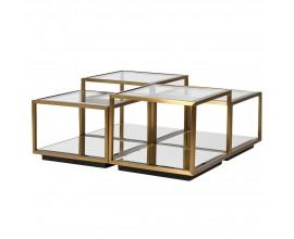 Luxusná modulárna zostava hranatých príručných stolíkov Cuadrato v kombinácii skla a zlatej ocele 50cm