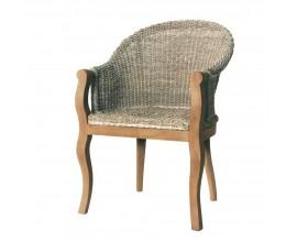 Vidiecka jedálenská stolička Casta s vypletanou sedacou časťou a drevenými nohami z mahagónu 89cm