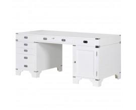 Lesklý kancelársky stôl Wielton Blanc z kombinácie masívu a MDF v bielom prevedení s kovovými prvkami a zásuvkami