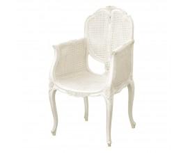Biela mahagónová jedálenská stolička Chateau v provensálskom štýle s ratanovým vypletaním sedacej časti
