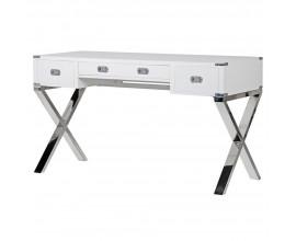 Luxusný biely písací stolík Wielton Blanc 140cm so zásuvkami