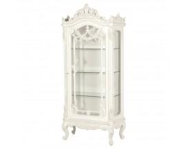 Provensálska vitrína Antic Blanc z bieleho mahagónového dreva a zo skla 200cm