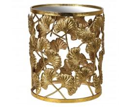 Art-deco príručný kruhový stolík Jucio s motívom zlatých listov ginko 40cm