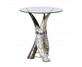 Luxusný kruhový príručný stolík Hornglas s nohami v tvare zvieracích rohov a sklenenou odkladacou plochou 51cm
