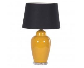 Dizajnová stolná lampa Amarillo so žltým keramickým podstavcom a čiernym tienidlom 65cm