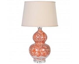 Orientálna porcelánová lampa Aman s oranžovým vzorom a béžovým tienidlom 77cm
