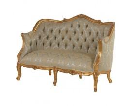 Luxusná antická sedačka zámockého štýlu Roi Gilt 135cm vintage zelená zlatá