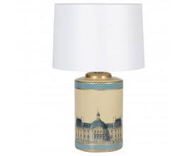 Dizajnová stolná lampa France z keramiky v zlato-tyrkysovom dekore a s biely textilným tienidlom 64cm