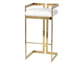 Art-deco barová stolička Elda zo zlatej kovovej konštrukcie a s bielym kožušinovým čalúnením 85cm