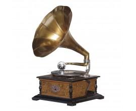 Štýlový gramofón Tempos z mangového dreva a mosadze 64cm