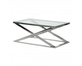Luxusný Art-deco konferenčný stolík Cherell II s chrómovou podstavou a sklenenou doskou 96cm