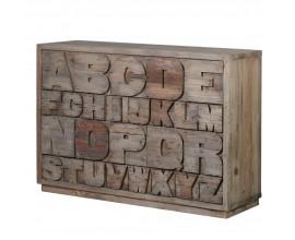 Štýlová drevená komoda Downey s abecedou 137cm