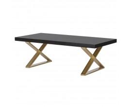 Art-deco čierny masívny konferenčný stolík Dawson s kovovou konštrukciou v prekríženom tvare 120cm